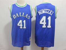 Mens Nba Dallas Mavericks #41 Dirk Nowitzki Blue Mitchell&ness 1998-99 Hardwood Classics Swingman Jersey