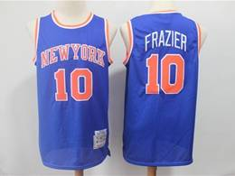Mens Nba New York Knicks #10 Walt Frazier Blue Mitchell&ness 1972-73 Hardwood Classics Swingman Jersey