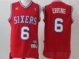Mens Nba Philadelphia 76ers #6 Julius Erving Red Mitchell&ness Hardwood Classics Adidas Jersey