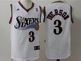 Mens Nba Philadelphia 76ers #3 Allen Iverson White Mitchell&ness Mesh Adidas Jersey