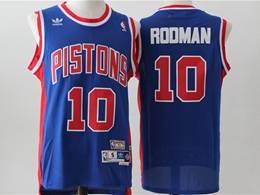 Mens Nba Detroit Pistons #10 Dennis Rodman Blue Mitchell&ness Hardwood Classics Swingman Adidas Jersey