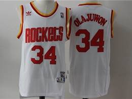 Mens Nba Houston Rockets #34 Hakeem Olajuwon White Mitchell&ness Hardwood Classics Swingman Adidas Jersey