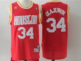 Mens Nba Houston Rockets #34 Hakeem Olajuwon Red Mitchell&ness Hardwood Classics Swingman Adidas Jersey
