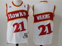Mens Nba Atlanta Hawks #21 Dominique Wilkins White Mitchell&ness Hardwood Classics Swingman Jersey