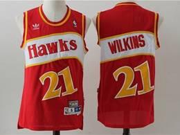 Mens Nba Atlanta Hawks #21 Dominique Wilkins Red Mitchell&ness Hardwood Classics Swingman Jersey