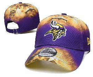 Mens Nfl Minnesota Vikings Team Color Multicolour Gradient Snapback Adjustable Curved Hats