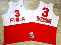 Mens Nba Philadelphia 76ers #3 Allen Iverson White&red 2003-04 Mitchell&ness Hardwood Classics Swingman Jersey