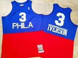 Mens Nba Philadelphia 76ers #3 Allen Iverson Red&blue 2003-04 Mitchell&ness Hardwood Classics Swingman Jersey
