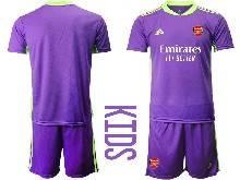 Kids 20-21 Soccer Arsenal Club ( Custom Made ) Purple Goalkeeper Short Sleeve Suit Jersey