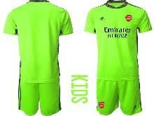 Kids 20-21 Soccer Arsenal Club ( Custom Made ) Fluorescence Green Goalkeeper Short Sleeve Suit Jersey