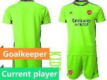 Kids 20-21 Soccer Arsenal Club Current Player Fluorescence Green Goalkeeper Short Sleeve Suit Jersey