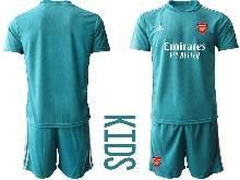 Kids 20-21 Soccer Arsenal Club ( Custom Made ) Blue Goalkeeper Short Sleeve Suit Jersey