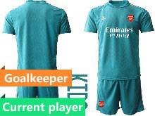 Kids 20-21 Soccer Arsenal Club Current Player Blue Goalkeeper Short Sleeve Suit Jersey