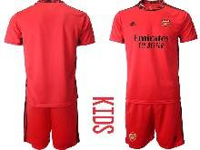 Kids 20-21 Soccer Arsenal Club ( Custom Made ) Red Goalkeeper Short Sleeve Suit Jersey