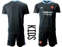 Kids 20-21 Soccer Arsenal Club ( Custom Made ) Black Goalkeeper Short Sleeve Suit Jersey
