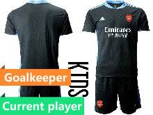 Kids 20-21 Soccer Arsenal Club Current Player Black Goalkeeper Short Sleeve Suit Jersey