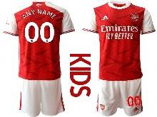 Kids 20-21 Soccer Arsenal Club ( Custom Made ) Red Home Short Sleeve Suit Jersey
