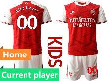 Kids 20-21 Soccer Arsenal Club Home Red Goalkeeper Short Sleeve Suit Jersey