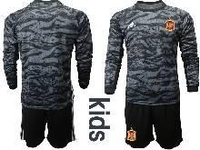 Kids Soccer Spain National Team ( Custom Made ) Black Eurocup 2021 Goalkeeper Long Sleeve Suit Jersey
