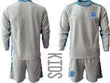 Kids Soccer Spain National Team ( Custom Made ) Gray Eurocup 2021 Goalkeeper Long Sleeve Suit Jersey