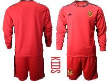 Kids Soccer Spain National Team ( Custom Made ) Red Eurocup 2021 Goalkeeper Long Sleeve Suit Jersey