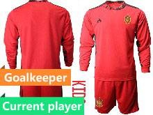 Kids Soccer Spain National Team Current Player Red Eurocup 2021 Goalkeeper Long Sleeve Suit Jersey