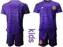 Kids Soccer Spain National Team ( Custom Made ) Purple Eurocup 2021 Goalkeeper Short Sleeve Suit Jersey