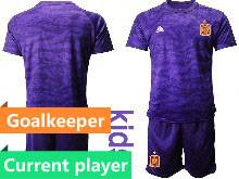 Kids Soccer Spain National Team Current Player Purple Eurocup 2021 Goalkeeper Short Sleeve Suit Jersey