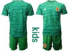 Kids Soccer Spain National Team ( Custom Made ) Green Eurocup 2021 Goalkeeper Short Sleeve Suit Jersey