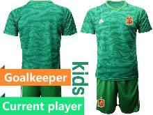 Kids Soccer Spain National Team Current Player Green Eurocup 2021 Goalkeeper Short Sleeve Suit Jersey