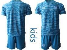 Kids Soccer Spain National Team ( Custom Made ) Blue Eurocup 2021 Goalkeeper Short Sleeve Suit Jersey