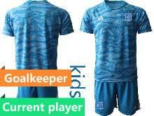 Kids Soccer Spain National Team Current Player Blue Eurocup 2021 Goalkeeper Short Sleeve Suit Jersey