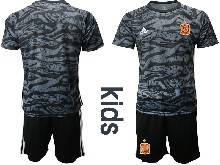 Kids Soccer Spain National Team ( Custom Made ) Black Eurocup 2021 Goalkeeper Short Sleeve Suit Jersey