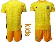 Kids Soccer Spain National Team ( Custom Made ) Yellow Eurocup 2021 Goalkeeper Short Sleeve Suit Jersey