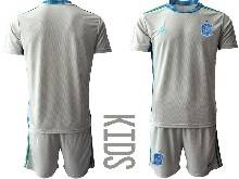 Kids Soccer Spain National Team ( Custom Made ) Gray Eurocup 2021 Goalkeeper Short Sleeve Suit Jersey
