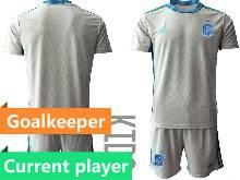 Kids Soccer Spain National Team Current Player Gray Eurocup 2021 Goalkeeper Short Sleeve Suit Jersey