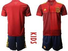 Kids Soccer Spain National Team ( Custom Made ) Red Eurocup 2021 Home Short Sleeve Suit Jersey