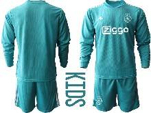Kids 20-21 Soccer Afc Ajax Club ( Custom Made ) Blue Goalkeeper Long Sleeve Suit Jersey