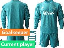 Kids 20-21 Soccer Afc Ajax Club Current Player Blue Goalkeeper Long Sleeve Suit Jersey