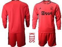 Kids 20-21 Soccer Afc Ajax Club ( Custom Made ) Red Goalkeeper Long Sleeve Suit Jersey