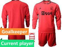 Kids 20-21 Soccer Afc Ajax Club Current Player Red Goalkeeper Long Sleeve Suit Jersey