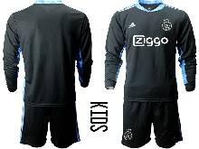 Kids 20-21 Soccer Afc Ajax Club ( Custom Made ) Black Goalkeeper Long Sleeve Suit Jersey