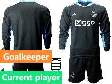 Kids 20-21 Soccer Afc Ajax Club Current Player Black Goalkeeper Long Sleeve Suit Jersey