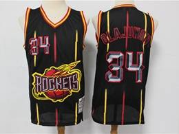 Mens Nba Houston Rockets #34 Hakeem Olajuwon Black Stripe Mitchell&ness Hardwood Classics Mesh Jersesy