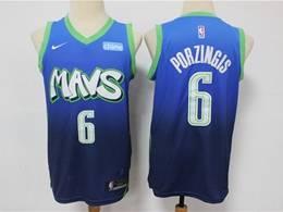 Mens Nba Dallas Mavericks #6 Kristaps Porzingis Light Blue 2020 City Edition Nike Swingman Jersey