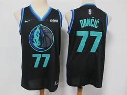 Mens Nba Dallas Mavericks #77 Luka Doncic Black 2019 City Edition Nike Swingman Jersey