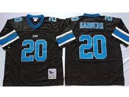 Mens Nfl Detroit Lions #20 Barry Sanders Black Mitchell&ness Throwback Jersey