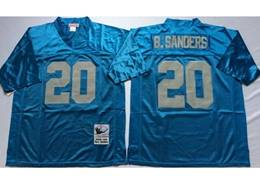 Mens Nfl Detroit Lions #20 B.sanders Blue Mitchell&ness Throwback Jersey