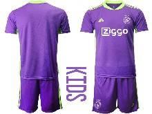 Kids 20-21 Soccer Afc Ajax Club ( Custom Made ) Purple Goalkeeper Short Sleeve Suit Jersey