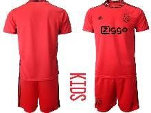 Kids 20-21 Soccer Afc Ajax Club ( Custom Made ) Red Goalkeeper Short Sleeve Suit Jersey